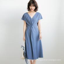 Spring Women's Dress 2020 French Vintage Waist Style Sexy Long Skirt Temperament V-Neck Swing Dress