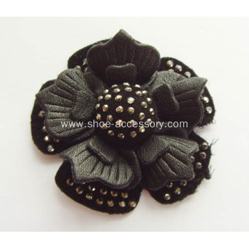 Leather Flower Shoe Clips with Hot-Fix Rhinestone