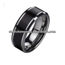 Nuevo producto 2014 Tungsteno pulido brillante no chapado anillo y madera Inlay
