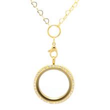 Venda quente de aço inoxidável medalhão novo coração de ouro colar de corrente de design