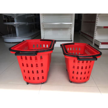 60L Plastic Shopping Basket with Wheels