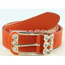 korean style belt rhinestone pin buckle belt women pu material belt