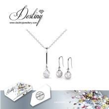 Destino joyería cristal de Swarovski, colgantes de perlas conjunto de colgante y pendientes
