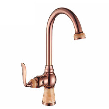 YL-5906-33CO European rose gold plated marble stone kitchen faucet