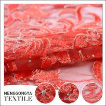 Personnalisé Différents types de tissu de dentelle de broderie de mariage de maille de Poly