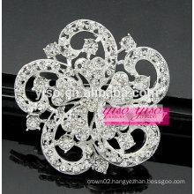 silver clear crystal ribbon wreath brooch