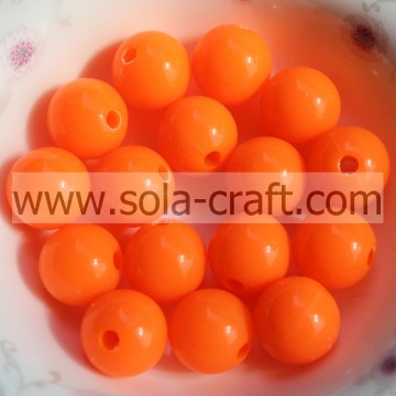 Grade A Acrylique Orange Shinny Imitation Plastique 6MM Perles Rondes