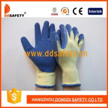 Algodón / Poliester Liner Crinkle guantes de látex (DKL326)