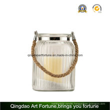 Rope Handle Round Glass Candle Lantern for Decor