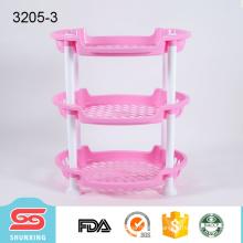 3-layers multipurpose elliptic plastic corner shelf for sale