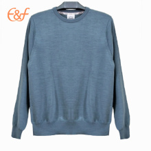 Mens Blue Plain Mercerized Wool Sweater