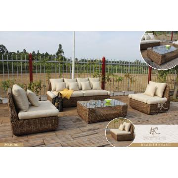 Handgefertigte natürliche Wicker Wohnzimmer Sofa Set
