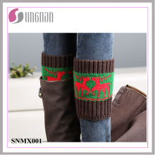 2015 Winter Christmas Spelled Color Elk Leg Warmers Knitted Socks