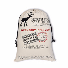 Custom Cotton Canvas Christmas Gift Bags Drawstring Pocket Storage Bags