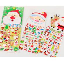 Рождество 3d мультфильм дизайн Рождество Санта-Клаус шаблон подарок, оптовая продажа пены мультфильм пухлые наклейки