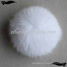 Vente en gros de boules de fourrure de renard blanc de 10 cm pour chapeaux