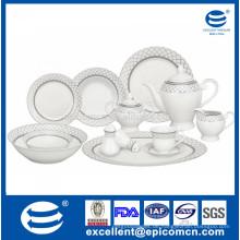 42pcs super weißes Porzellan silbernes Geschirr gemacht durch Fabrik