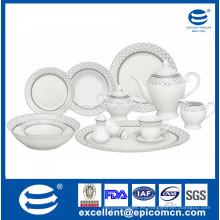 Vajilla de plata de porcelana blanca super de 42pcs hecha por la fábrica