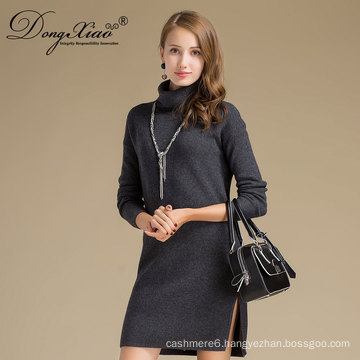 Customized Professional Pullover Long Dress Cashmere Sweater Designs For Ladies