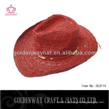 Roter Stroh-Cowboyhut kühler Papierstroh-Cowboy kappen mexikanischer Hut