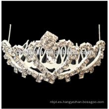 Alta calidad adulta nupcial accesorios de pelo Rhinestone cristal Bling tiaras boda corona de diseño corona nupcial