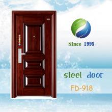 Puerta del sitio de la puerta de entrada de la puerta del hierro de la puerta del metal de la puerta de la seguridad del acero más barato de China (FD-918)