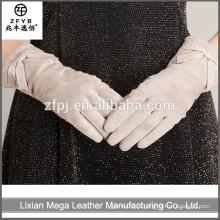 Novo design de moda de baixo preço Branco Fingerless luvas de couro com alta Quanlity