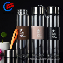 Glass Drinking Bottle With Sleeve Tea Glass With Filter BAP Free 450ml