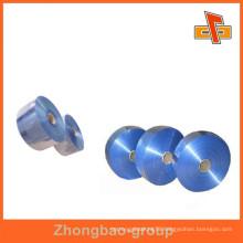 manufacturers heat sensitive clear blue PVC shrink sleeve film for semi-tube,bottle neck,rahmen packaging