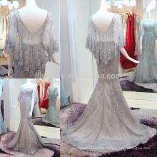 Luxo Beading Prata Mermaid Evening Dresses 2016 Vestido De Festa Longo Lace Applique Sexy Veja Através de Vestidos Formais ML152