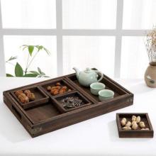 Juego de bandejas para servir de té de nido de madera rústica china de 7 piezas con asas