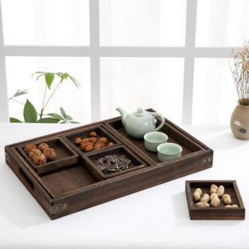 O chinês 7 bandejas de madeira rústicas do serviço do chá do assentamento da parte ajustou-se com punhos