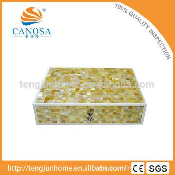 Beautiful Handmade Golden MOP Storage Box for Luxury Hotel