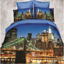 Conjunto de funda nórdica 3D / textil suave Conjunto de sábanas 3D en una bolsa / ropa de cama de algodón de impresión reactiva 3D