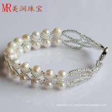 2 filas de moda de agua dulce pulsera hecha a mano de perlas (EB1516-1)