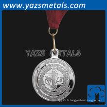 personnaliser les médailles de métal, médaillons personnalisés de haute qualité en argent avec ruban