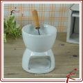 Chaozhou estufa de chocolate blanco de porcelana con tenedor