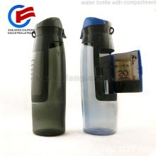 Botella de agua clave Botella de agua deportiva con compartimiento porta objetos