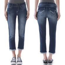 Pantalones al por mayor de los pantalones vaqueros azules del dril de algodón largo de 3/4 de las mujeres al por mayor