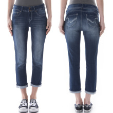 Wholesale Women′s 3/4 Long Denim Blue Jeans Pants