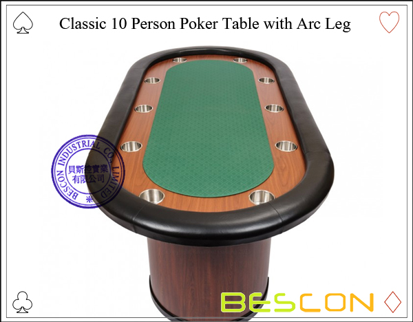 Classic 10 Person Poker Table with Arc Leg-2