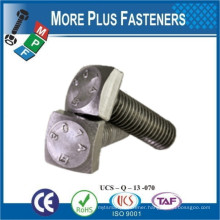 Made In Taiwan Low Carbon Steel Square Head Bolt Zinc Plated Hot Dip Galvanized