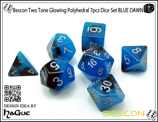 Bescon Two Tone Glowing Polyhedral 7pcs Dice Set BLUE DAWN-6