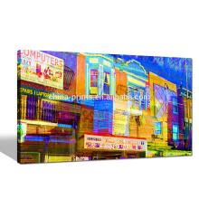 Красочное искусство стены холста Филадельфии / Яркое цветное здание Giclee Print / Cityscape Wall Art