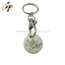 Wholesale stamping iron custom silver token coin key chains for shopping car