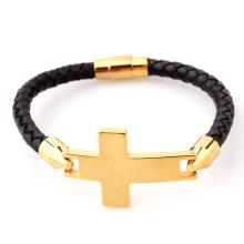 Bracelet homme en acier inoxydable avec croix latérale en cuir