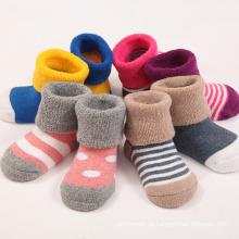 Bebê recém-nascido recém-nascido meias cheias de algodão terry (ka403)