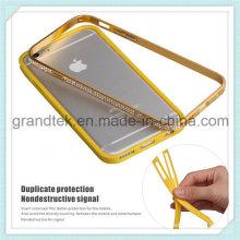 Caja elegante del parachoques del metal del diamante para la caja móvil iPhone6