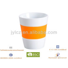 Taza de café del té de cerámica 100cc con la banda de silicona