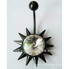 Anel de umbigo do botão do ventre do aço inoxidável com strass jóias